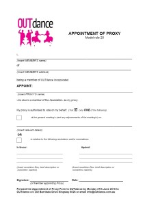 Appointment of Proxy
